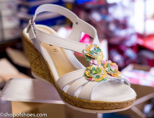 Adesso Carla white multi leather wedge sandal